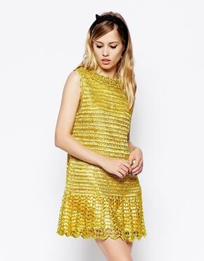 asos premium straw crochet dress with pep hem