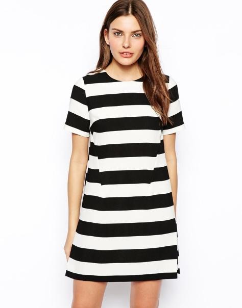 asos shift dress in wide stripe
