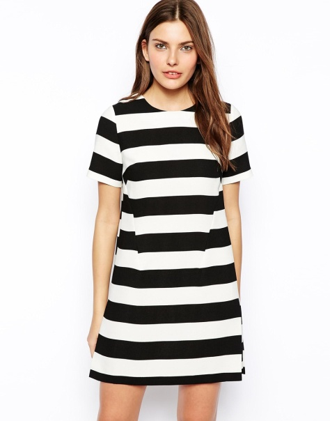 asos shift dress in wide stripe