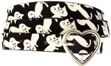 asos skinny belt with cat print and heart closure