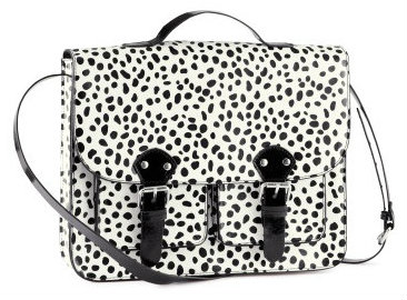 H&M spotted white and black satchel bag