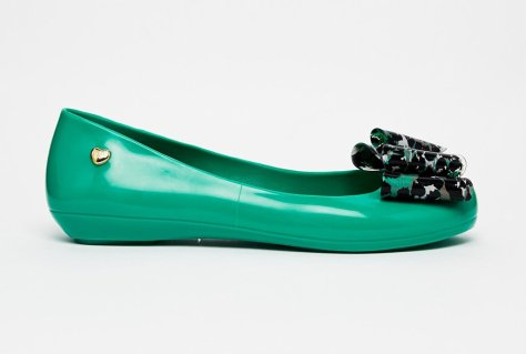 mel by melissa pop bow 3 flats green