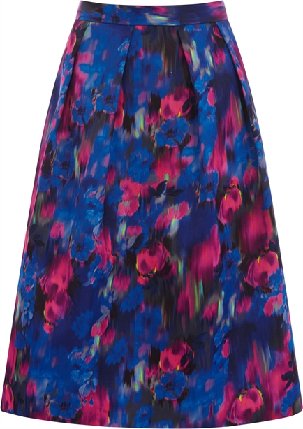 Oasis Blurred Floral Midi Skirt