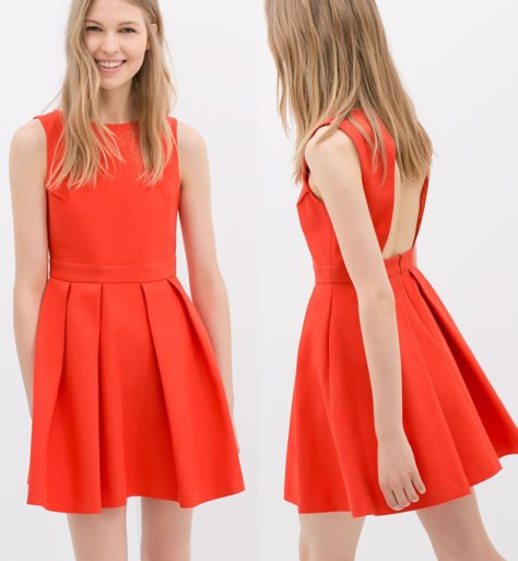 zara orange open back dress