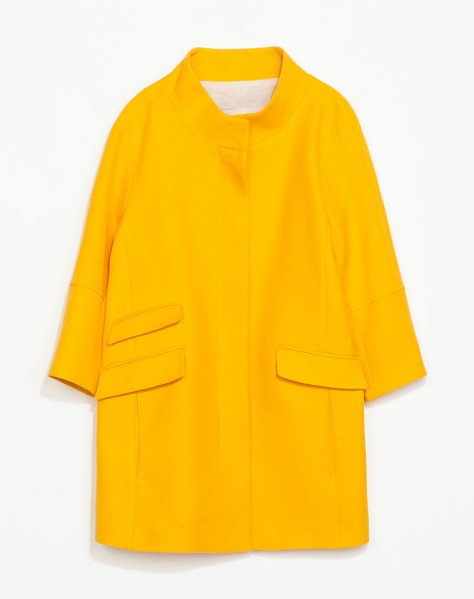 zara yellow pique coat