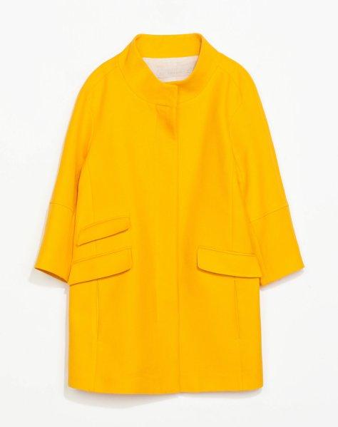 zara yellow pique coat