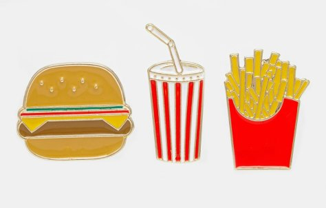 asos fast food pin badges