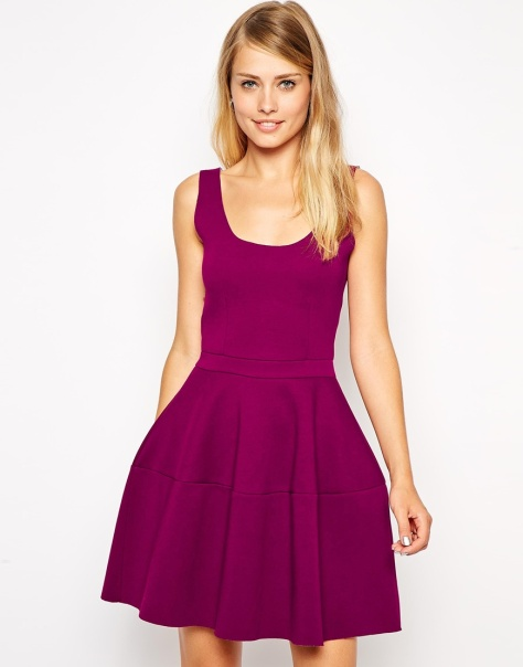 asos skater dress with lantern bonded detail