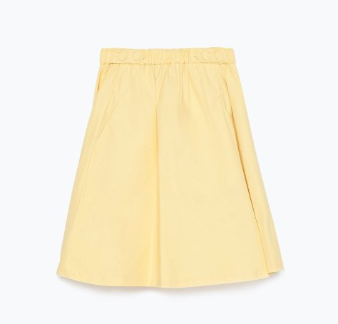zara basic yellow skirt with pockets