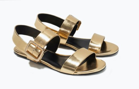zara buckled gold sandals