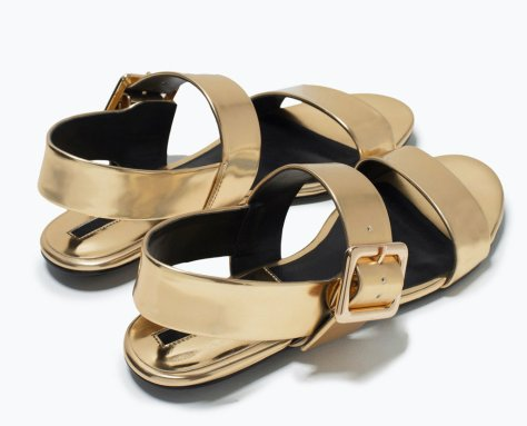 zara buckled sandals gold