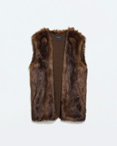 zara knit fake fur vest