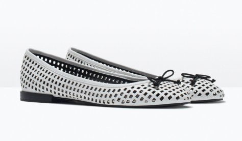 zara white flats with black insole