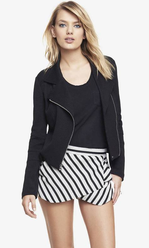 express textured knit moto jacket