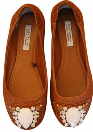 zara leather balerina flats