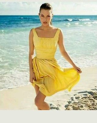 kate moss for topshop vintage 50' yellow lemon tea dress