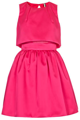 topshop HOT PINK Crop Overlay Duchess Satin Dress
