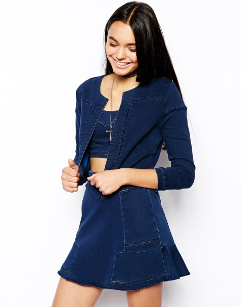 asos denim cropped jacket