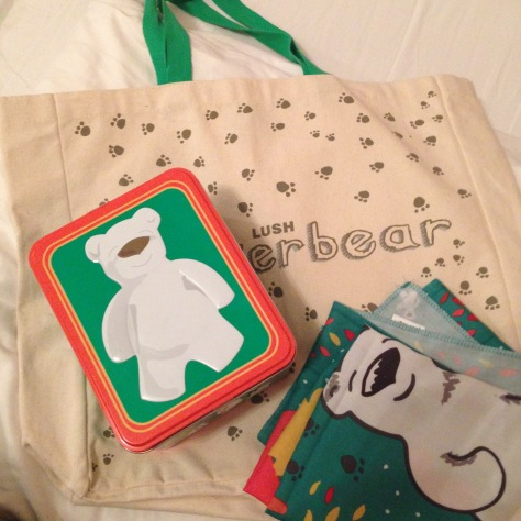 lush butterbear coollection tote tin and scarf