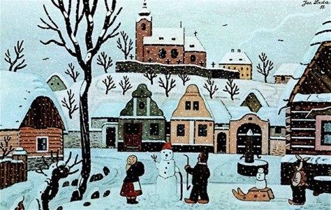 Josef Lada - Děti se sněhulákem 1951