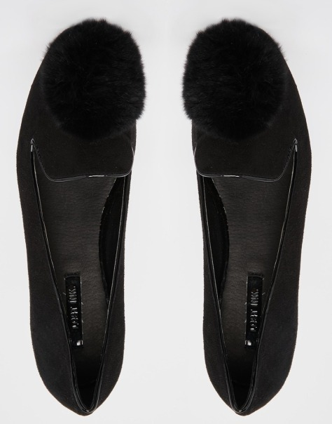 Lost ink pom pom flat shoes