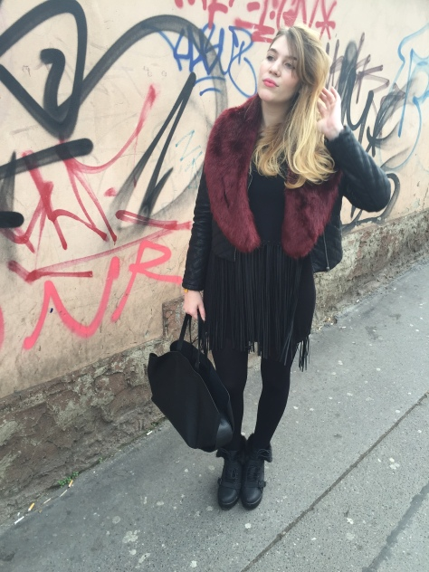 fake fur stole, zara knit fringe top, F&F dress