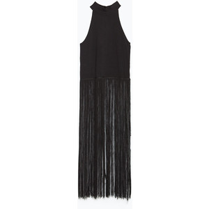 zara knit black fringe top